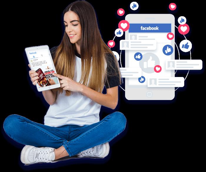 mujer en redes sociales